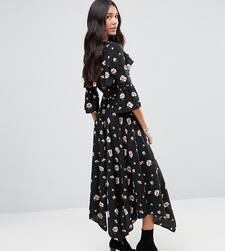 Influence Tall Asymetric Tea Dress with Open Back Detail - Black