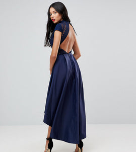 Chi Chi London Tall High Low Midi Dress With Open Back - Navy