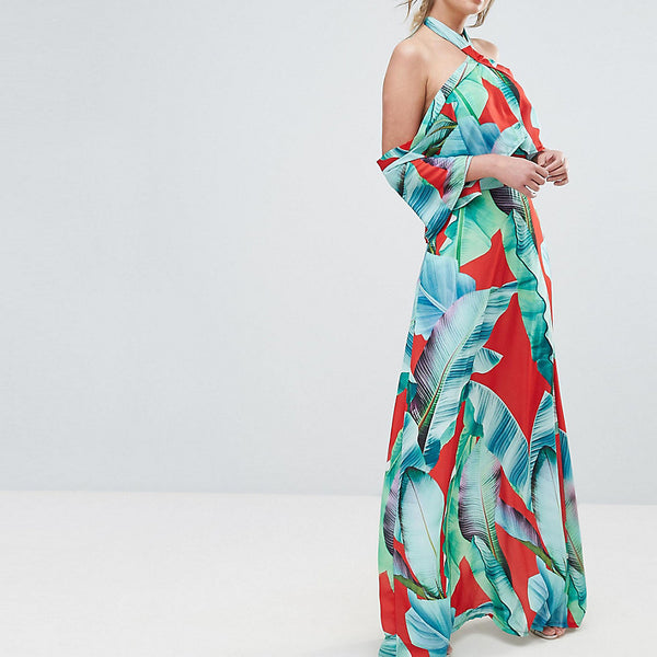 Every Cloud Palm Print Halterneck Maxi With Ruffle - Red base leaf print