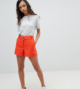 ASOS PETITE Tailored D-Ring Linen Shorts - Orange