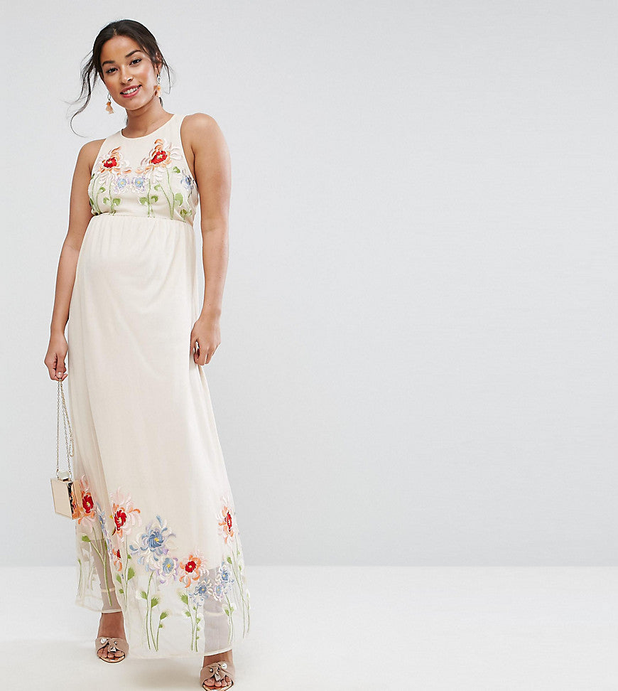 ASOS Maternity Embroidery Mesh Maxi Dress - Nude