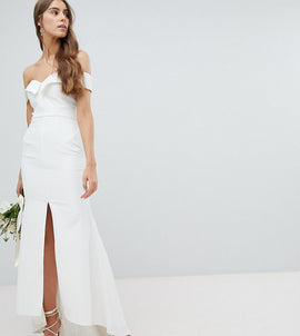 Jarlo Tall Bardot Maxi Dress With Thigh Split And Train Detail - White