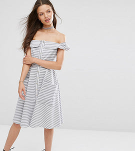 ASOS PETITE Stripe Summer Dress with Button Front - Multi