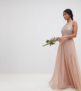 Maya Petite Sleeveless Sequin Bodice Tulle Detail Maxi Bridesmaid Dress With Cutout Back - Taupe blush