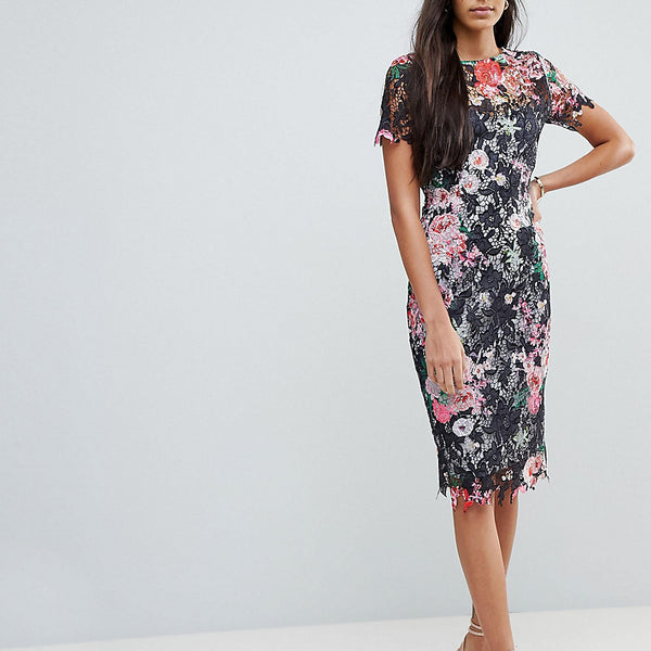 Paper Dolls Tall All Over Floral Printed Lace Pencil Dress - Multi