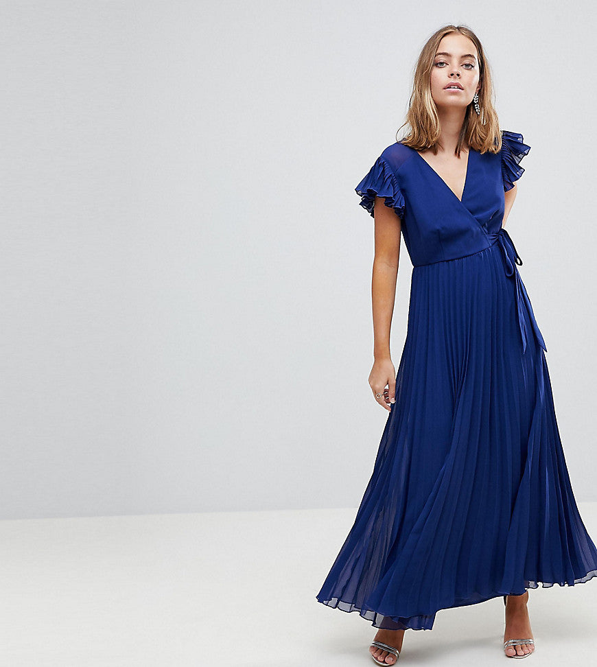 ASOS PETITE Pleated Maxi Dress with Flutter Sleeve - Navy