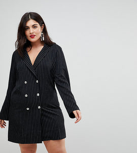 John Zack Plus Tuxedo Dress In Pinstripe - Black