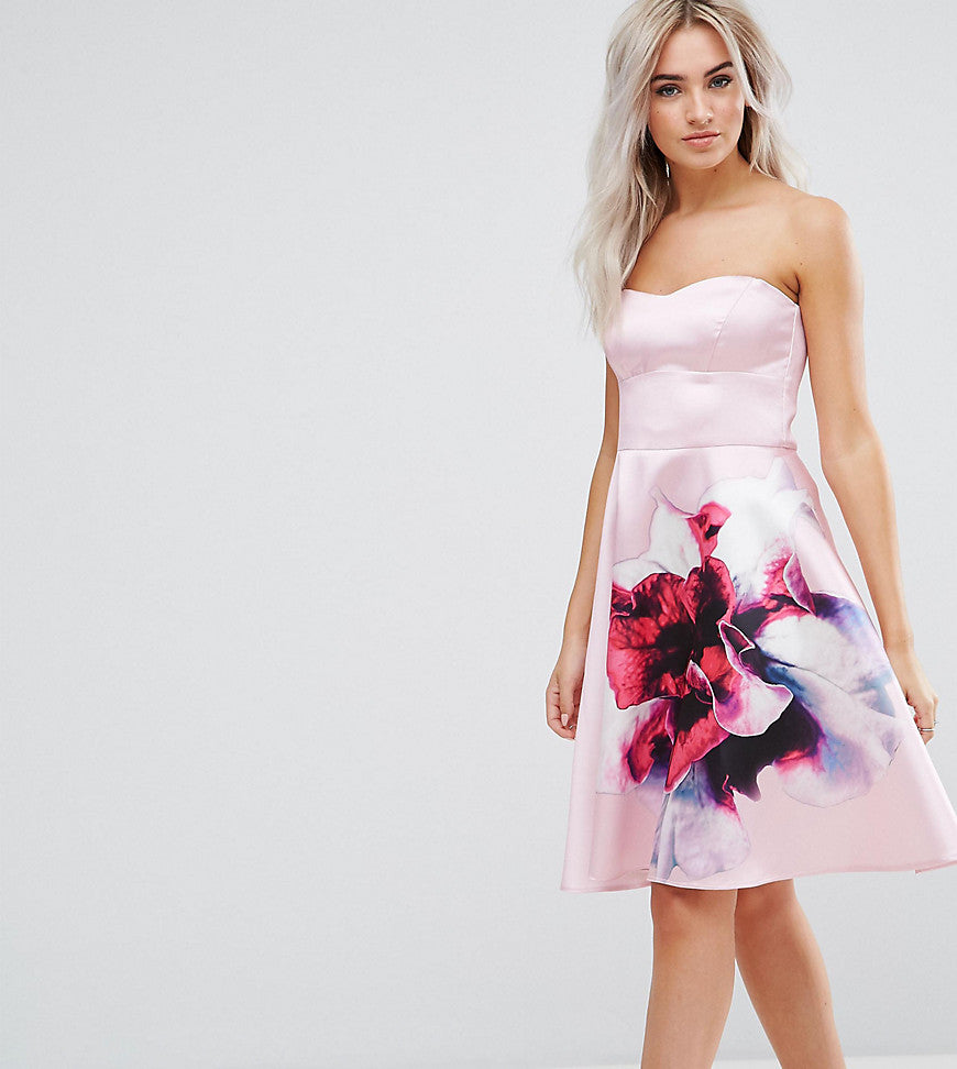 City Goddess Petite Bandeau Skater Dress With Placement Floral Print - Rose
