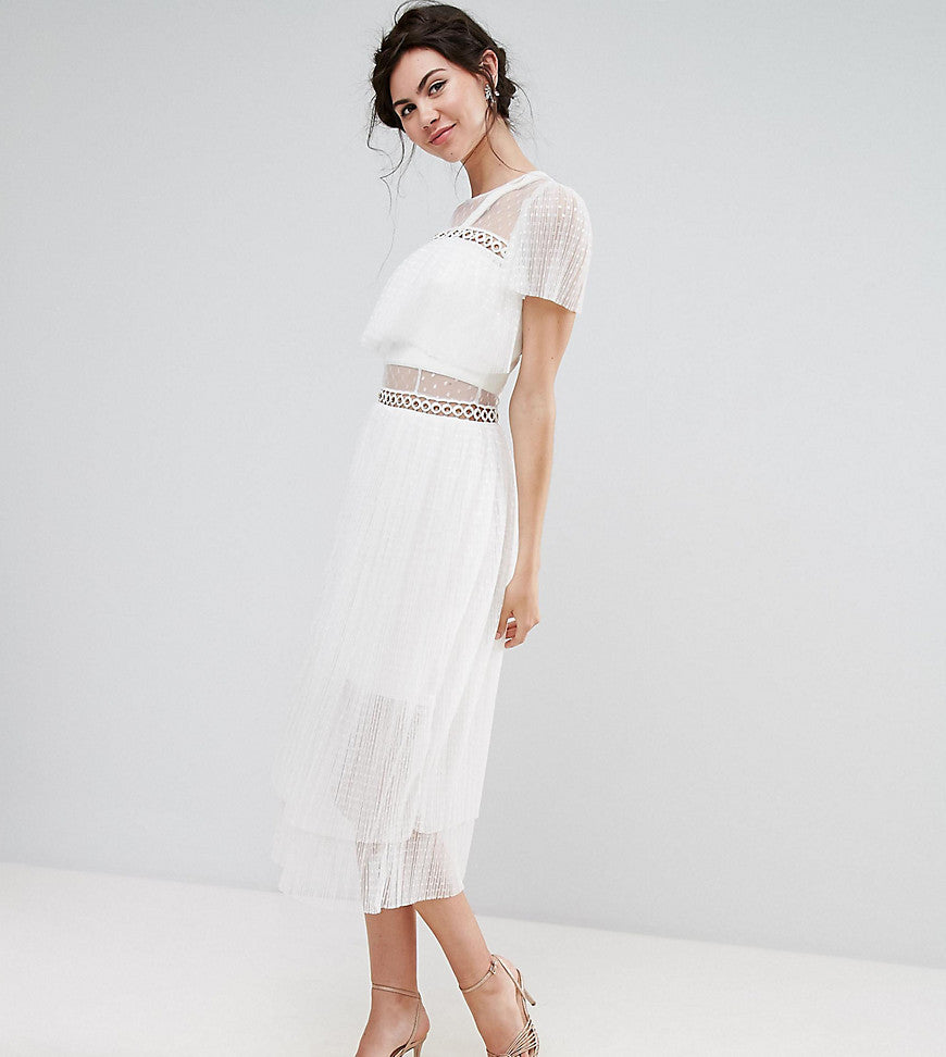 True Decadence Tall Tulle Ruffle Midi Dress With Metal Ring Detail - White
