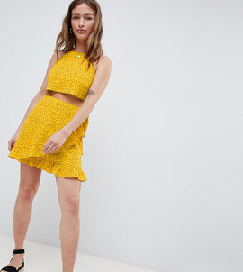 Glamorous Petite Wrap Mini Skirt With Frill Hem In Ditsy Spot Co-Ord - Yellow spot