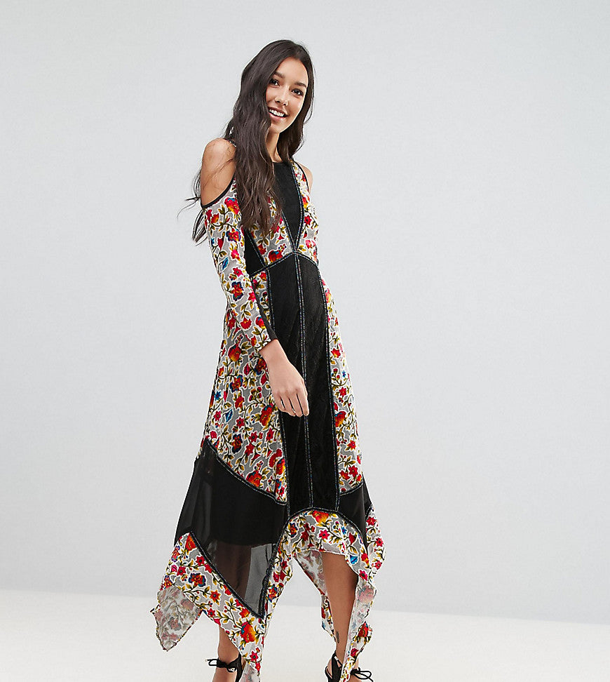 Frock And Frill Tall Floral Printed Velvet Hanky Hem Dress With Cold Shoulder - Multi