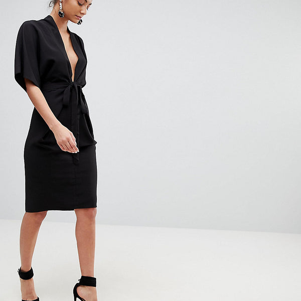 ASOS Tall Obi Wrap Midi Dress with Kimono Sleeves - Black