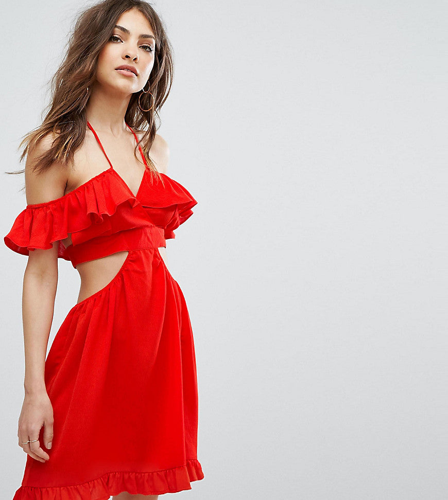 Missguided Cut Out Ruffle Detail Dress - Red