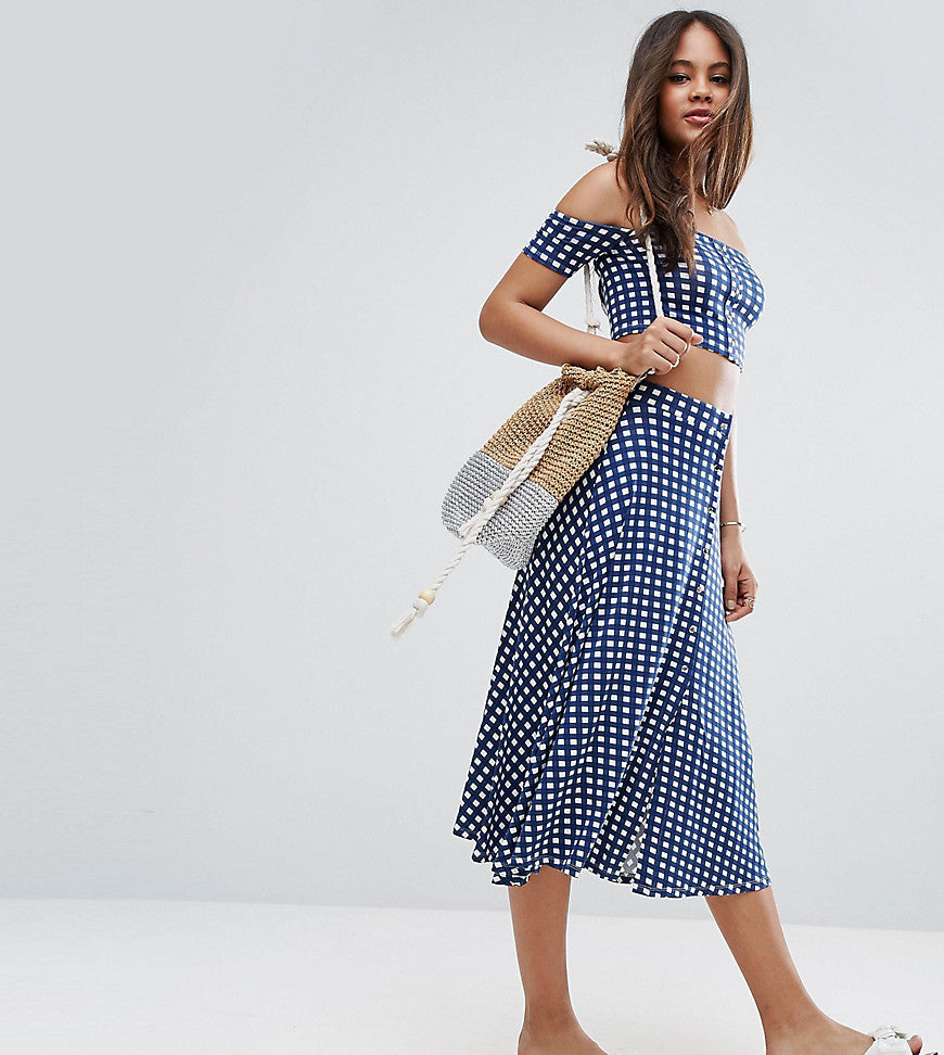 ASOS TALL Check Button Through Midi Skirt Co-ord - Multi