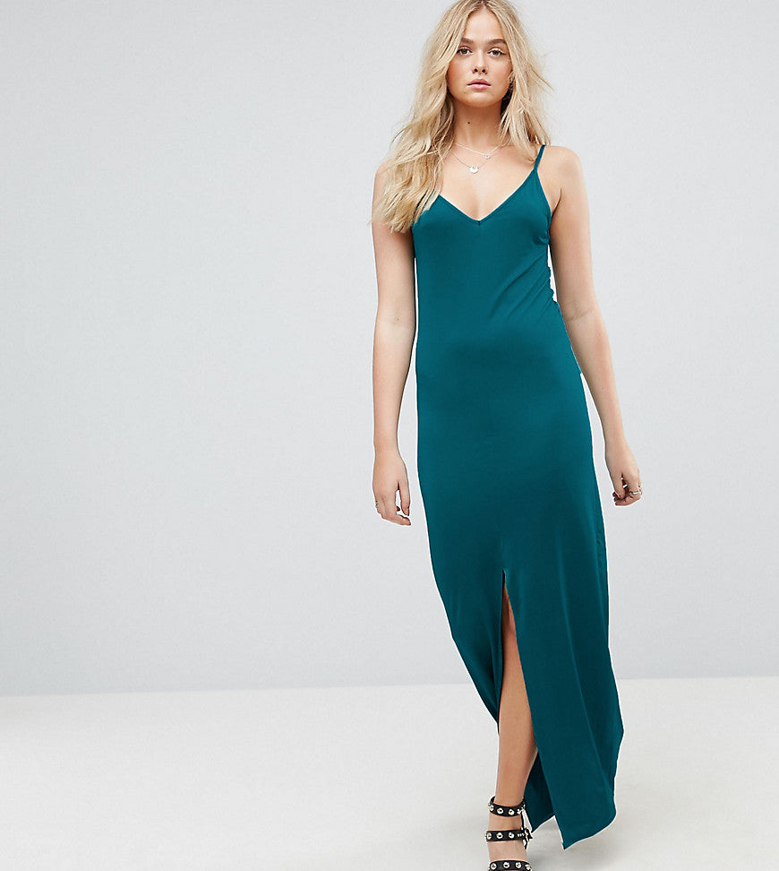 ASOS TALL Maxi Dress With V Back - Khaki