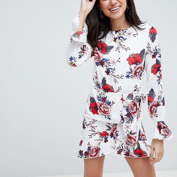 Parisian Tall Floral Dress With Tie Waist And Sleeve Detail - White