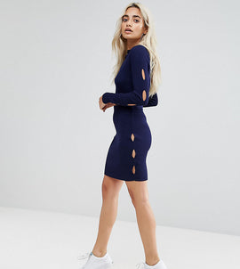 Missguided Petite Cut Out Detail Knitted Skirt - Navy