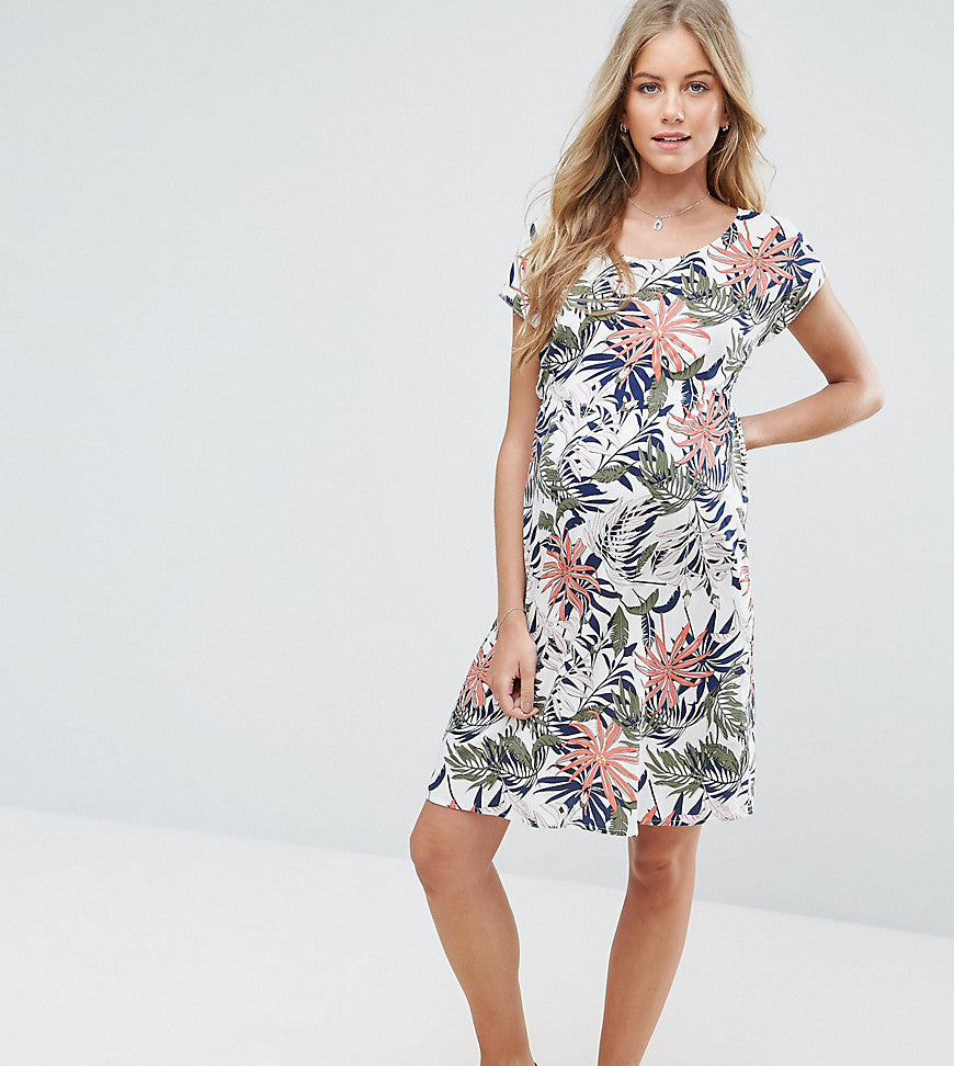 Mamalicious Floral Printed Shift Dress - Snow white