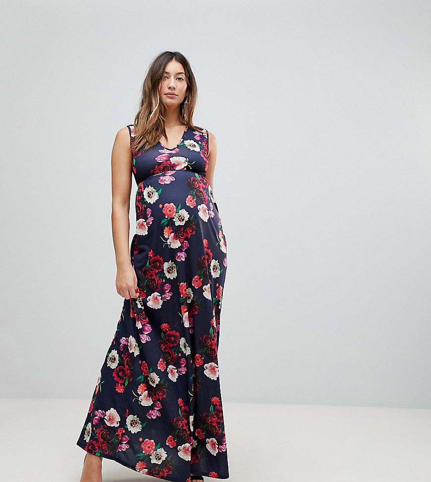 Bluebelle Maternity Maxi Dress With Plunge Neck And Cut Out Detail - Blue multi