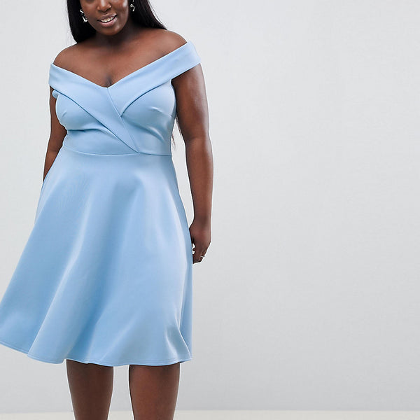 Club L Plus Bardot Prom Skater Dress - Halogen blue