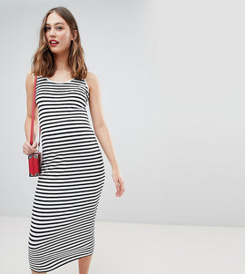 New Look Maternity Stripe Maxi Dress - Black pattern