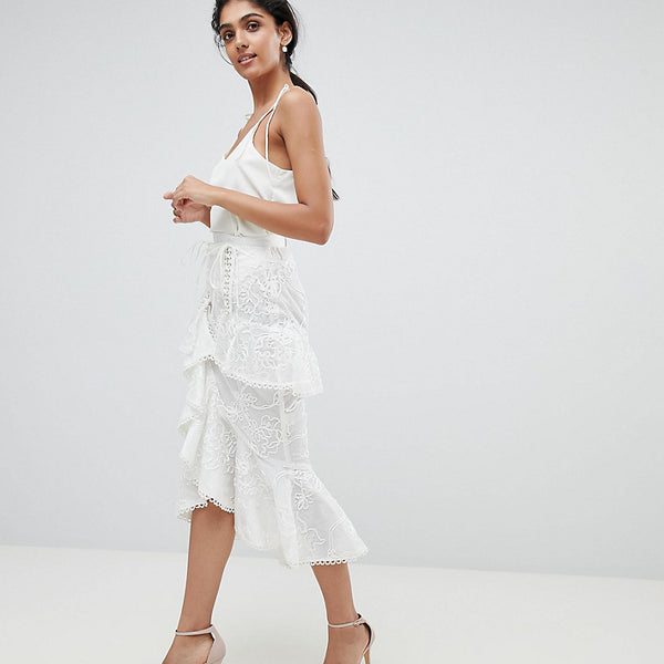 True Decadence Tall Premium Asymmetric Ruffle Lace Midi Skirt - White