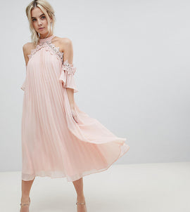 True Decadence Petite Pleated Swing Dress With Cold Shoulder Detail - Pale peach