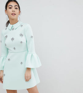 ASOS PETITE scuba embellished a-line mini dress - Mint