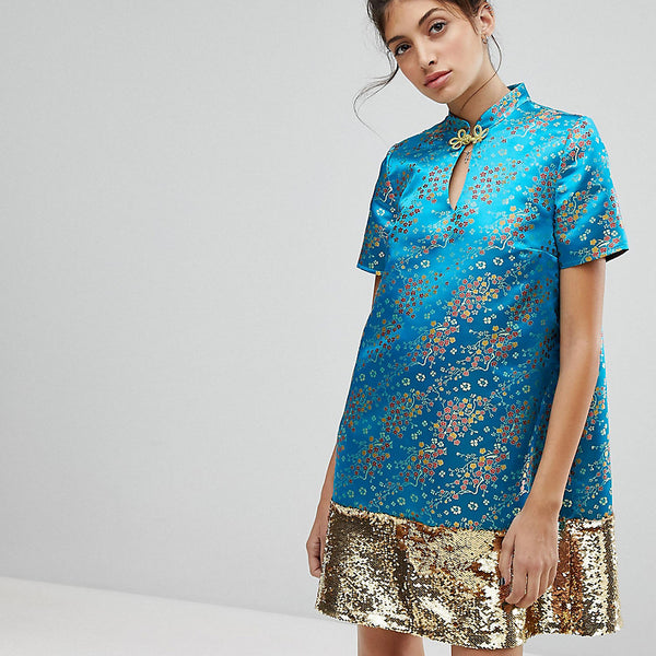 Reclaimed Vintage Inspired Brocade Dress With Sequin Panel - Turquoise
