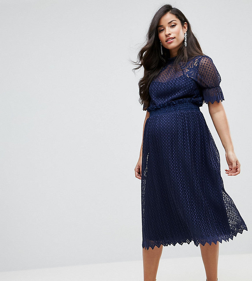 TFNC Maternity High Neck Pleated Lace Midi Dress With Smoked Waist - Navy