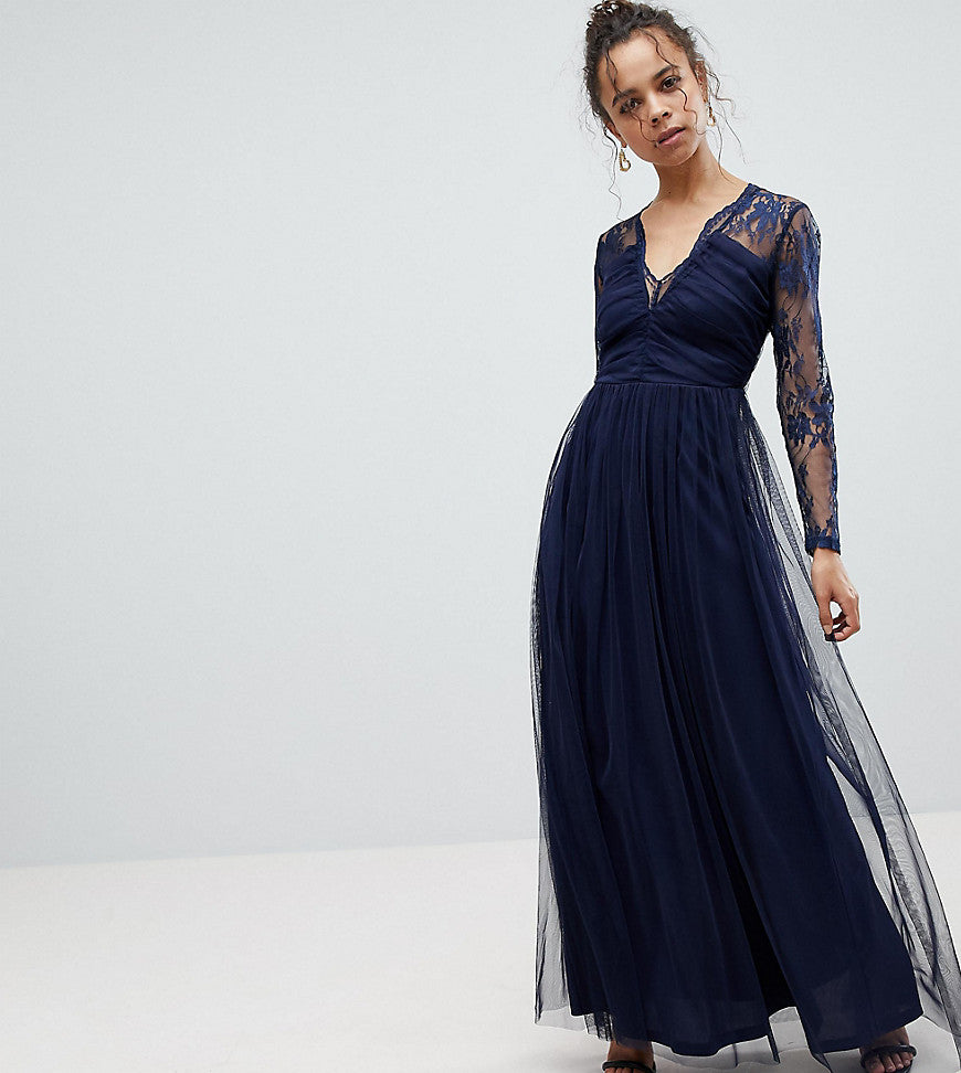 ASOS PETITE Lace Maxi Dress with Long Sleeves - Navy