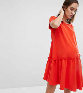 Glamorous Bloom Smock Dress With Asymmetric Hem - Orange