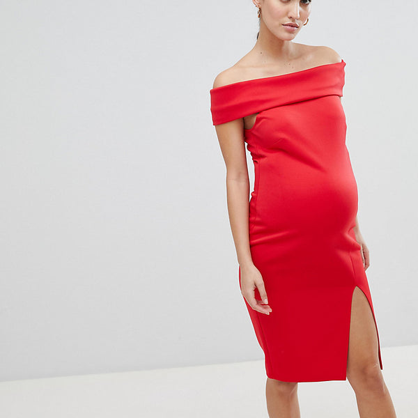 Flounce London Maternity Bardot Pencil Dress with Split - Red