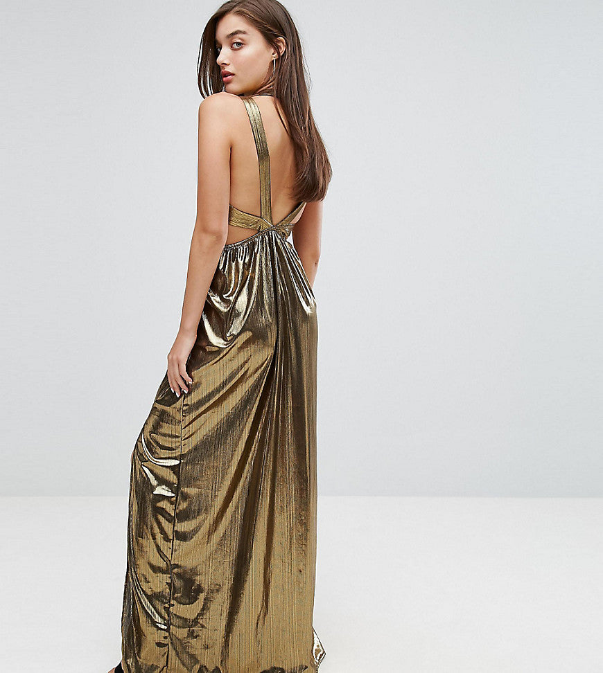 TFNC V Neck Maxi Dress With Pleated Back Panels - Gold