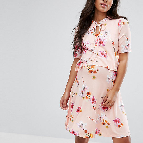 ASOS Maternity NURSING Tie Neck Double Layer Frill Dress - Pink base