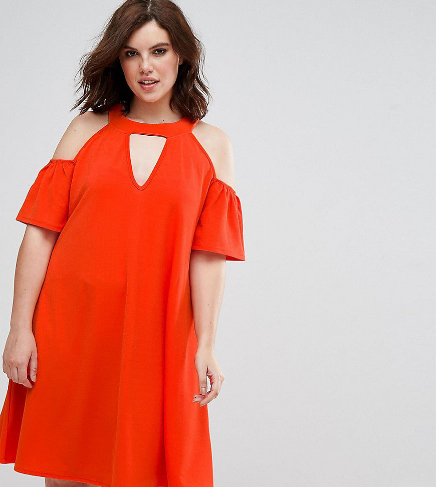 Pink Clove cold shoulder swing dress with key hole - Orange