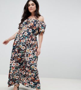 Lovedrobe Printed Bardot Maxi Dress - Black floral