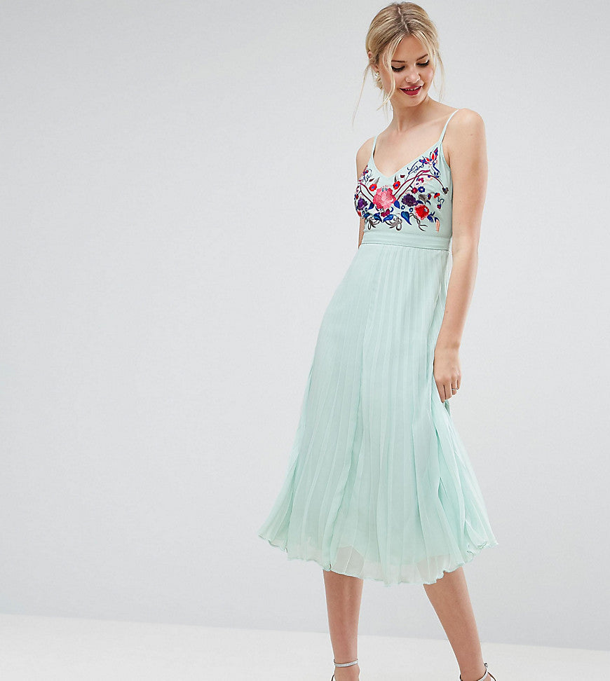 ASOS TALL Embroidered Cami Pleated Midi Dress - Mint
