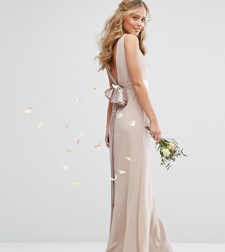 TFNC WEDDING Sateen Bow Back Maxi Dress - Nude