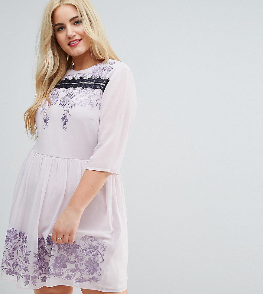 ASOS CURVE PREMIUM Eyelash Lace Mini Dress with Embroidery - Lilac