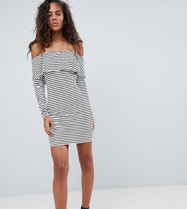 ASOS DESIGN Tall long sleeve bardot bodycon dress in stripe - Multi