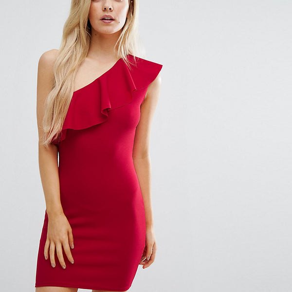 Missguided Petite Ruffle One Shoulder Dress - Red
