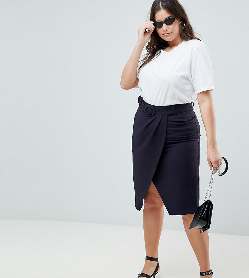 ASOS DESIGN Curve wrap front midi skirt with self belt - Navy