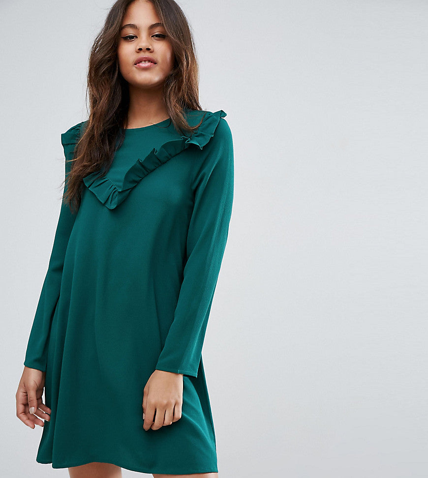 Brave Soul Tall Frill Swing Dress - Forest green