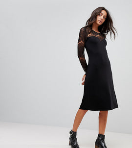 Y.A.S Tall Ciccu Long Lace Sleeved Shift Dress - Black