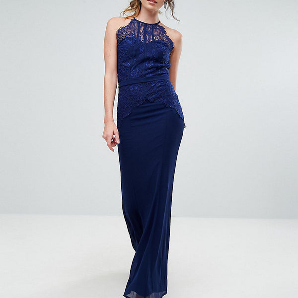 Little Mistress Tall All Over Lace Top Fishtail Maxi Dress - Navy