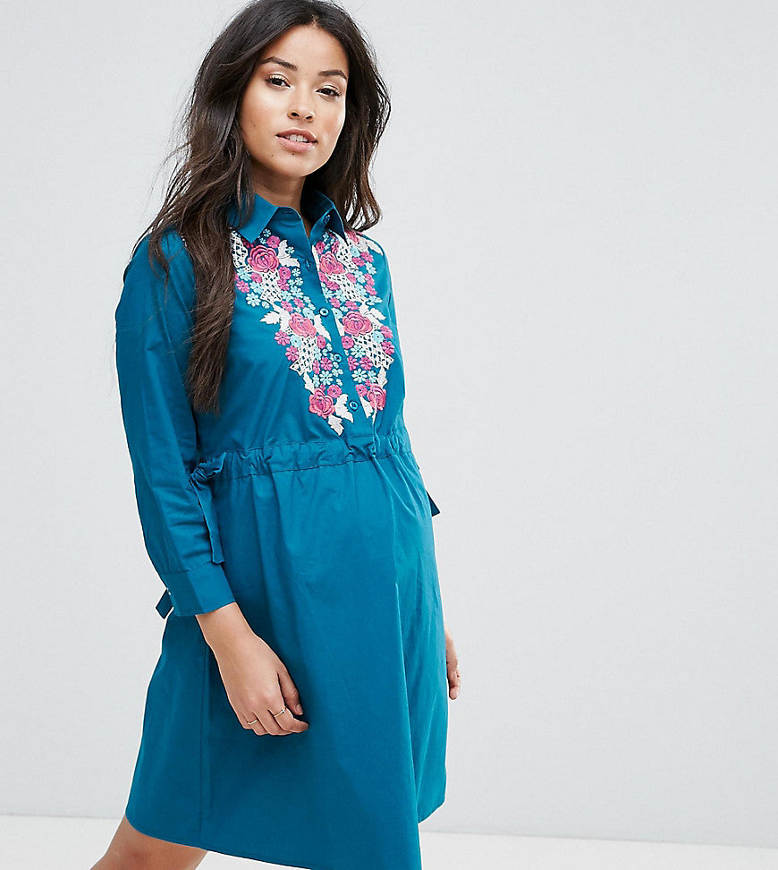 ASOS Maternity Mini Shirt Dress with Embroidery - Teal