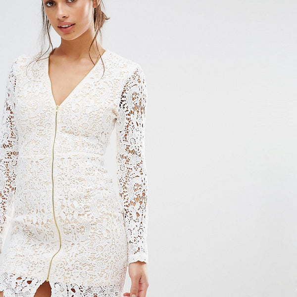 Missguided Petite Zip Front Plunge Lace Mini Dress - White