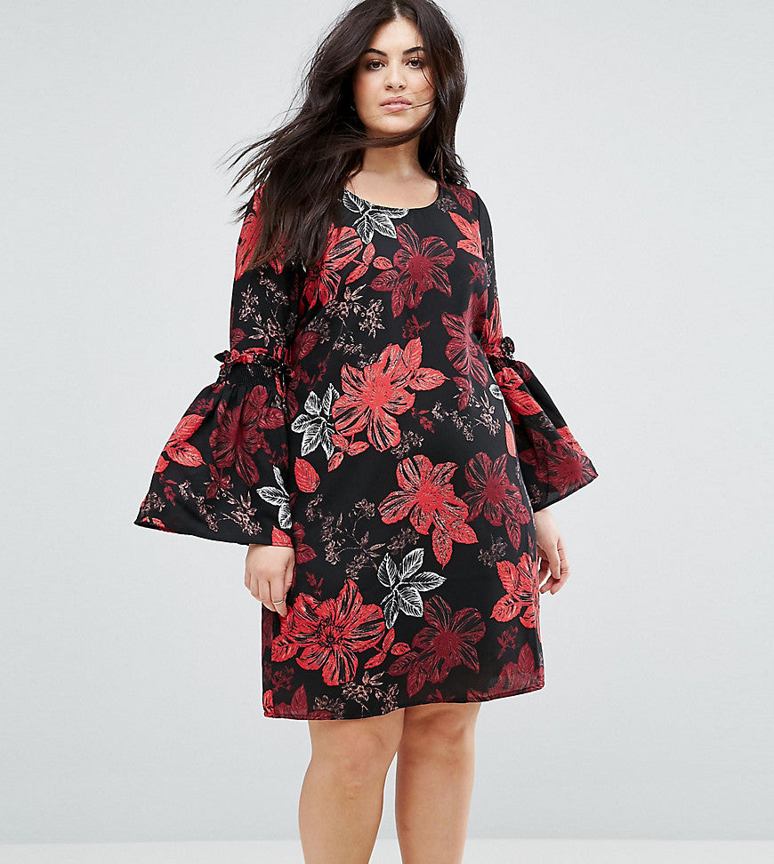 Junarose Floral Printed Dress With Fluted Sleeves - Aop
