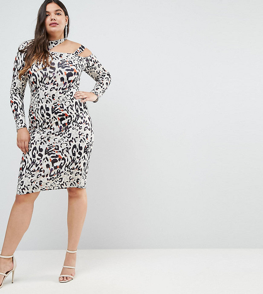 ASOS CURVE Midi Dress in Animal Print with Cut Away Neck - Multi